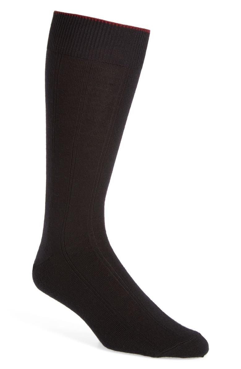 NORDSTROM MEN'S SHOP Rib Wool Blend Dress Socks, Main, color, BLACK