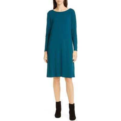 Petite Eileen Fisher Bateau Neck Long Sleeve Tencel Lyocell Dress, Blue