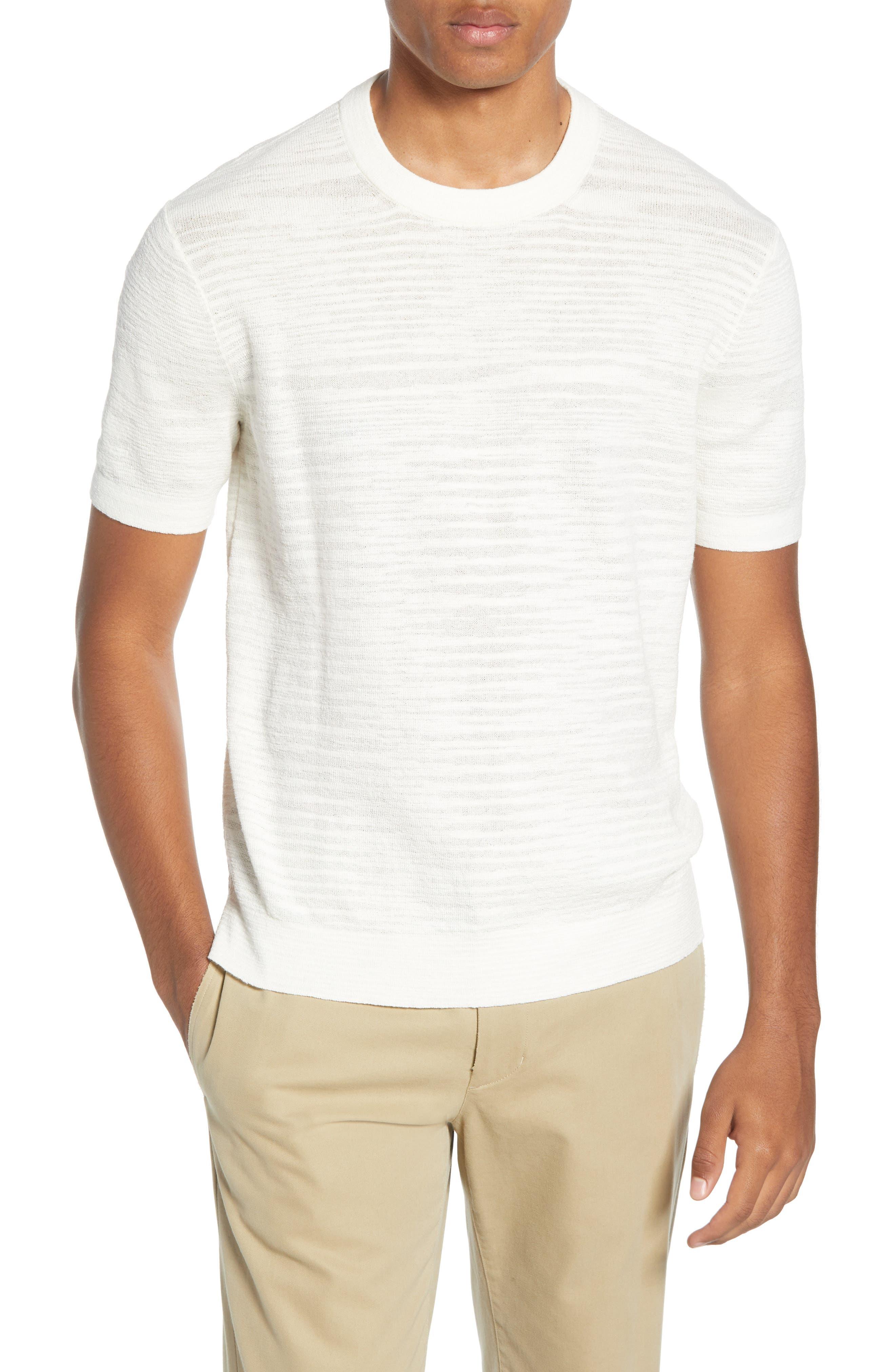 Club Monaco Short Sleeve Cotton Sweater, White