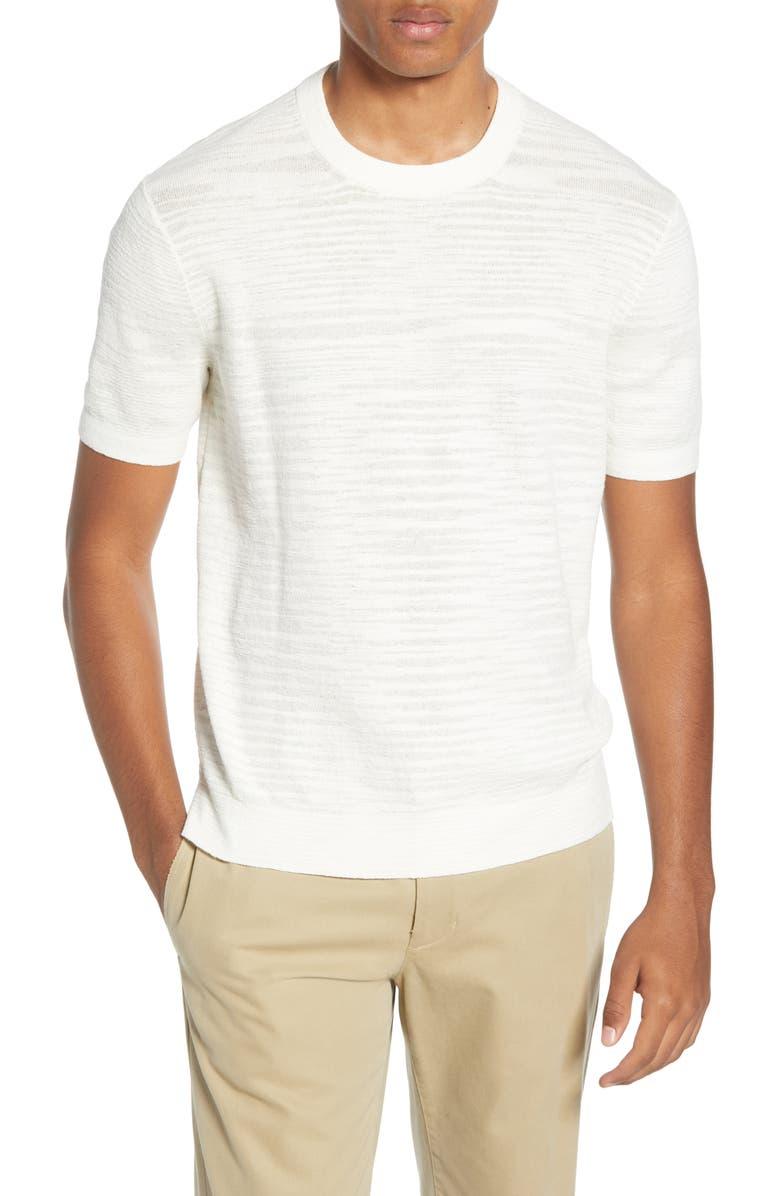 CLUB MONACO Short Sleeve Cotton Sweater, Main, color, WHITE