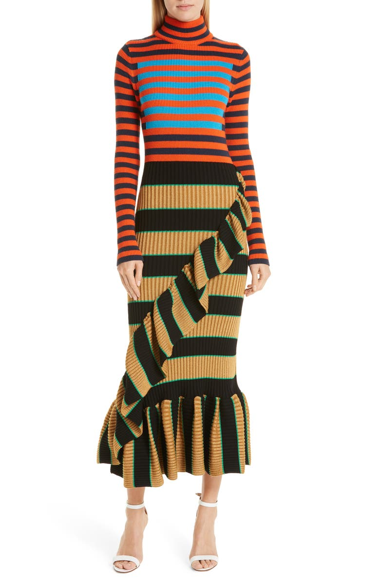 KENZO Mixed Stripe Ruffle Trim Sweater Dress, Main, color, 001