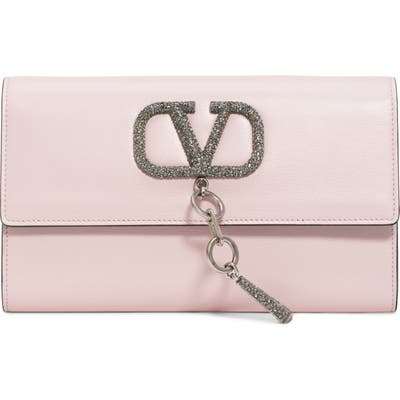 Valentino Garavani V-Case Leather Clutch - Pink