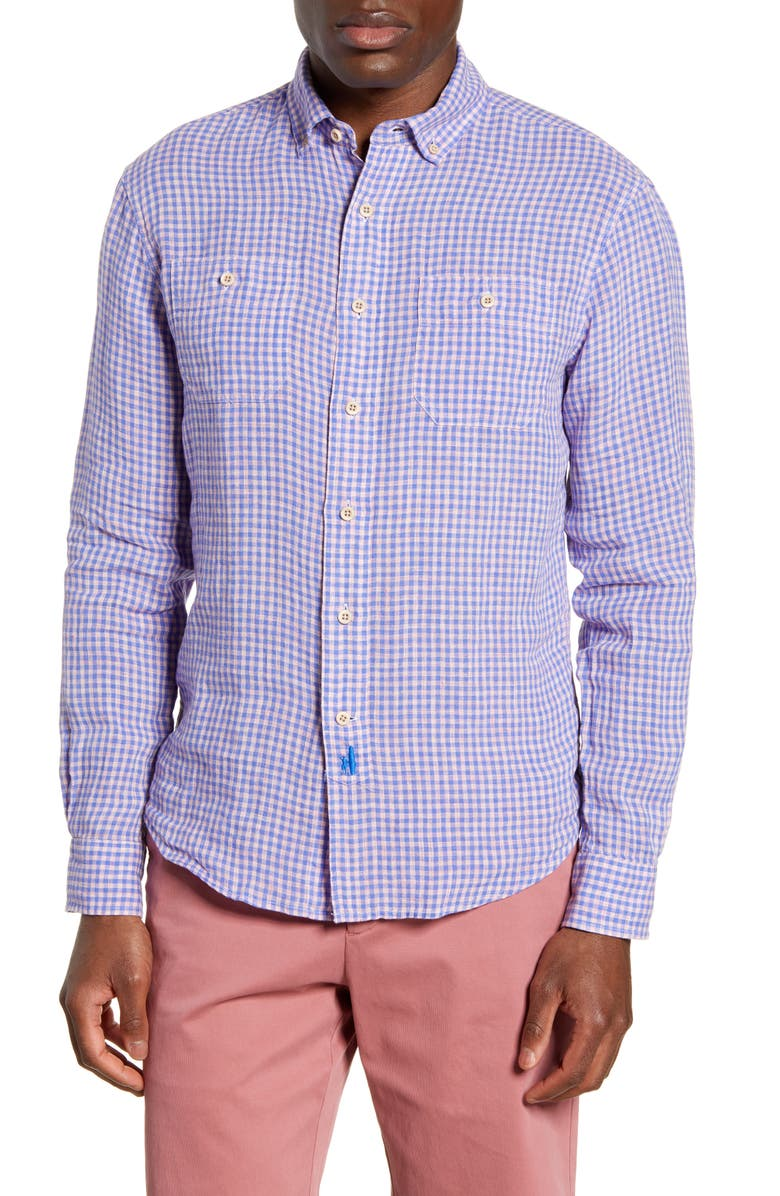 JOHNNIE-O Louis Classic Fit Check Shirt, Main, color, PURPLE HAZE