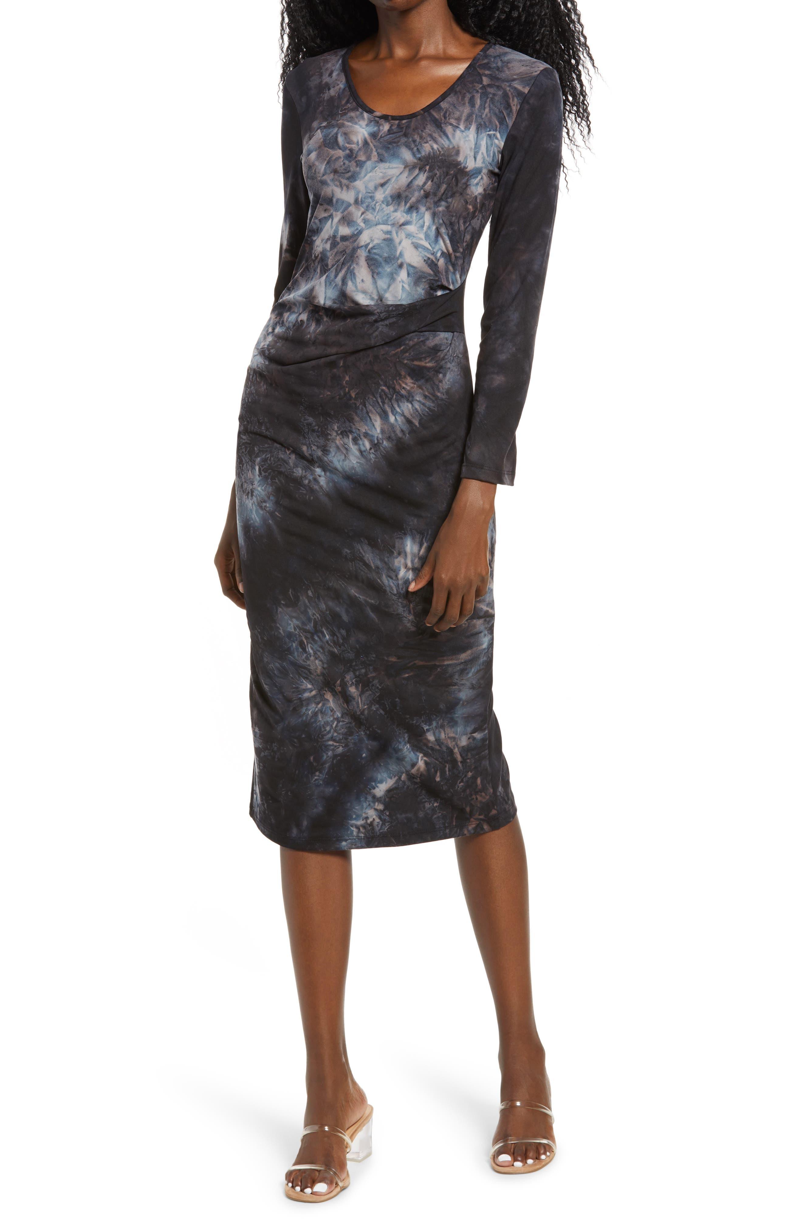 Tie Dye Pleat Long Sleeve Midi Dress