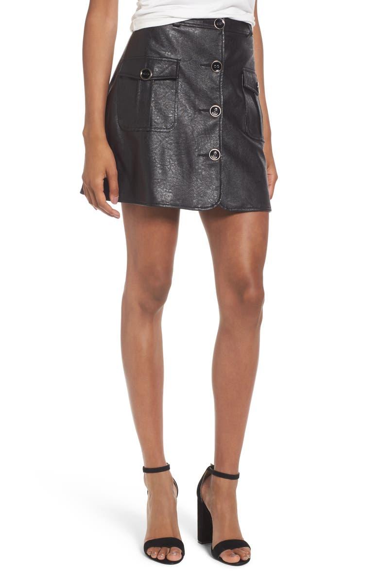 MAJORELLE Envoy Faux Leather Moto Skirt, Main, color, 005
