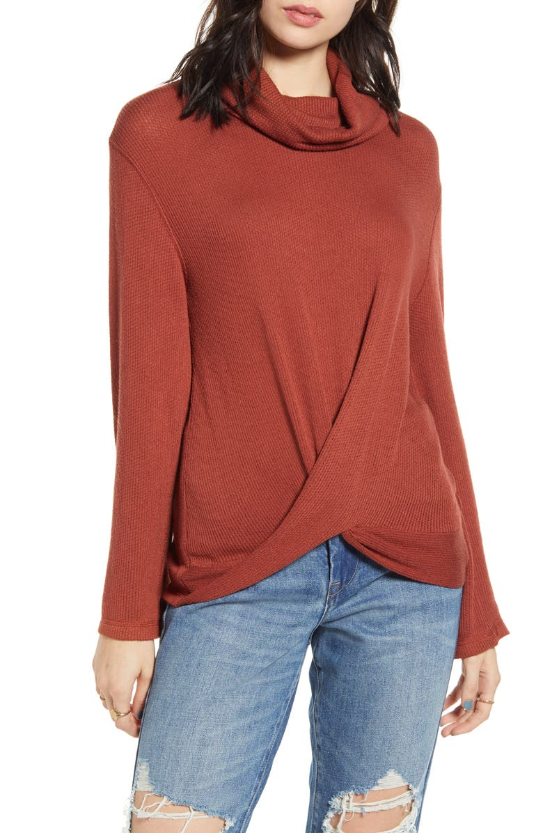 TEN SIXTY SHERMAN Twist Front Turtleneck Top, Main, color, 200