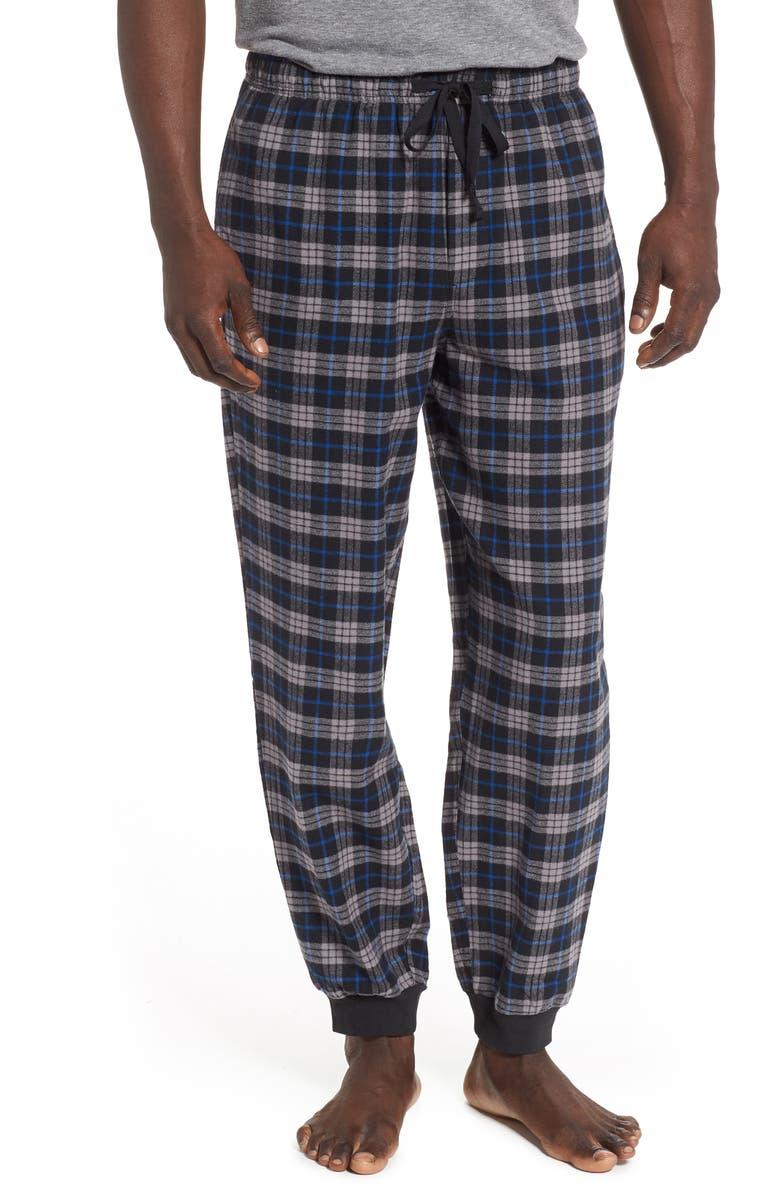 NORDSTROM MEN'S SHOP Flannel Jogger Pants, Main, color, BLACK WATCH PLAID