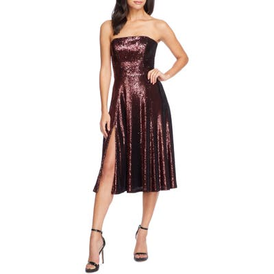 Dress The Population Ruby Strapless Sequin Party Dress, Burgundy