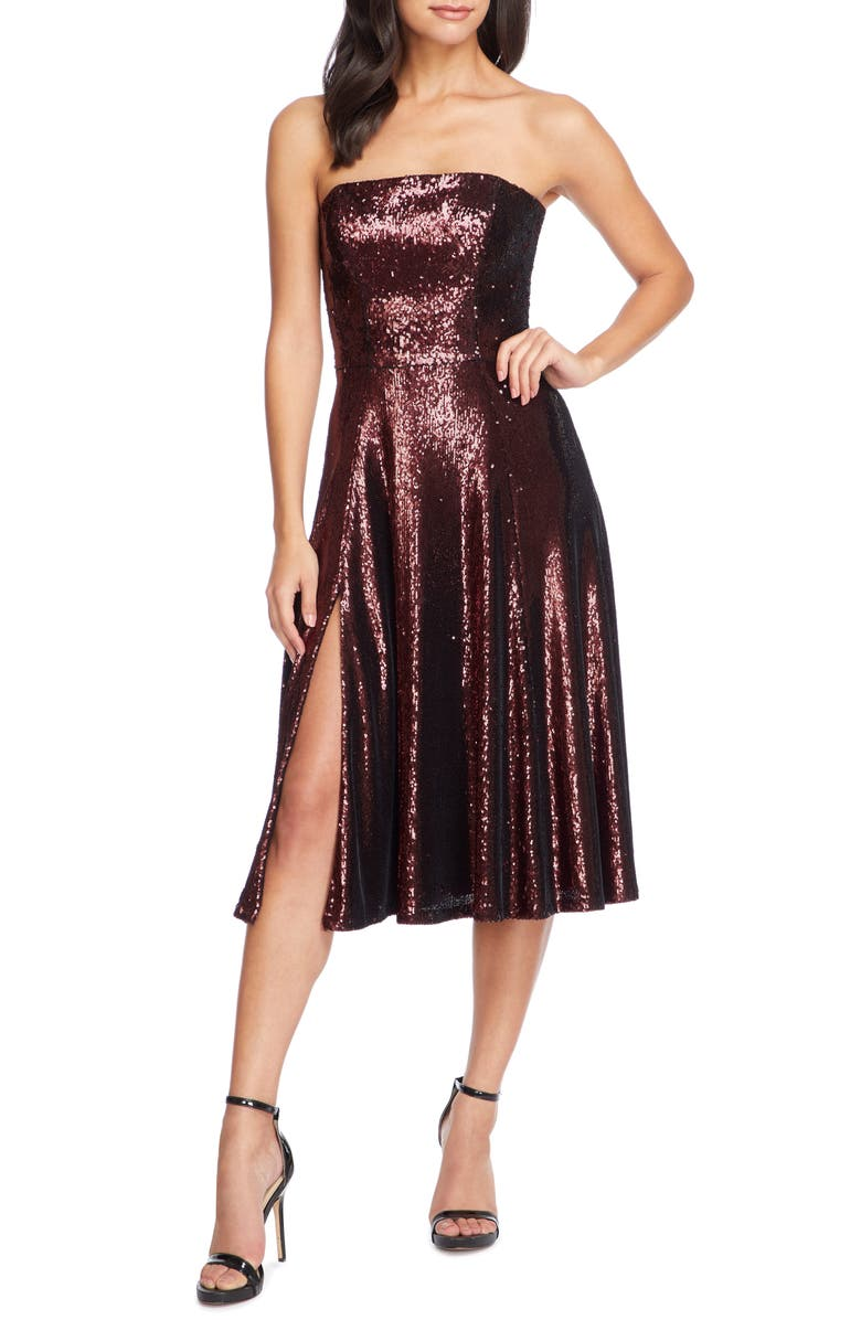 DRESS THE POPULATION Ruby Strapless Sequin Party Dress, Main, color, PORT
