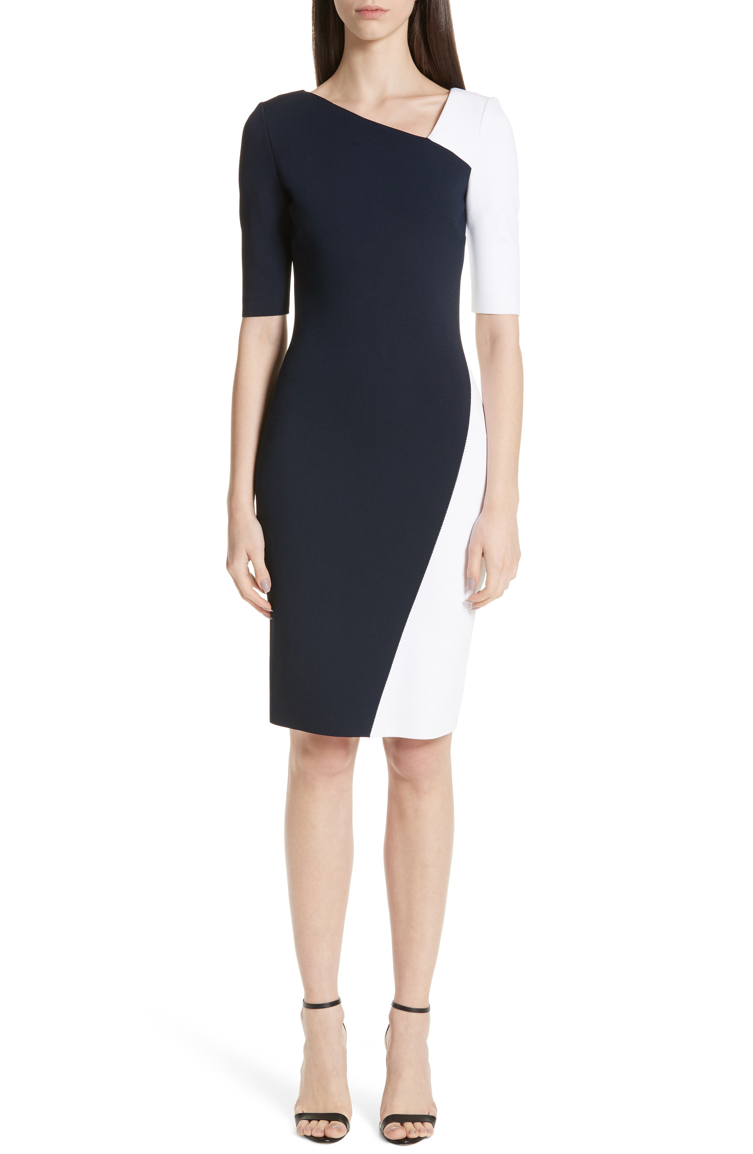 St. John Collection Colorblock Luxe Sculpture Knit Dress, White