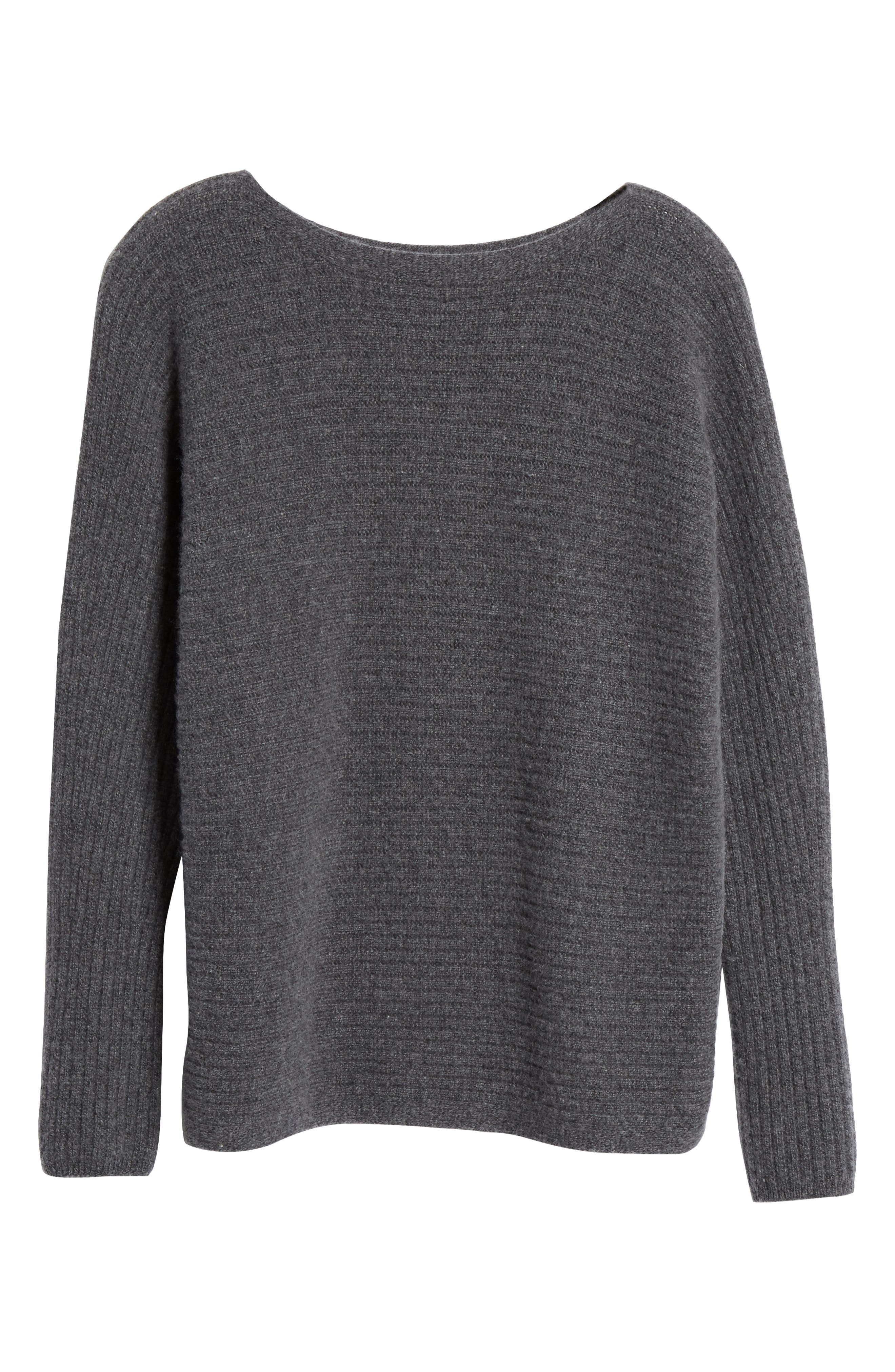 ,                             Horizontal Ribbed Sweater,                             Alternate thumbnail 6, color,                             HEATHER PEWTER
