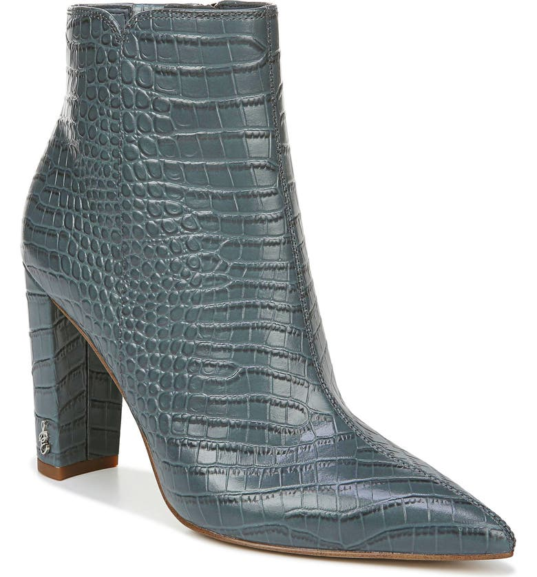 SAM EDELMAN Raelle Pointy Toe Bootie, Main, color, GREY IRIS LEATHER