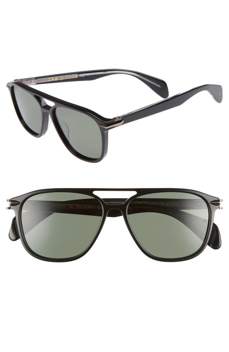 RAG & BONE 54mm Polarized Aviator Sunglasses, Main, color, BLACK