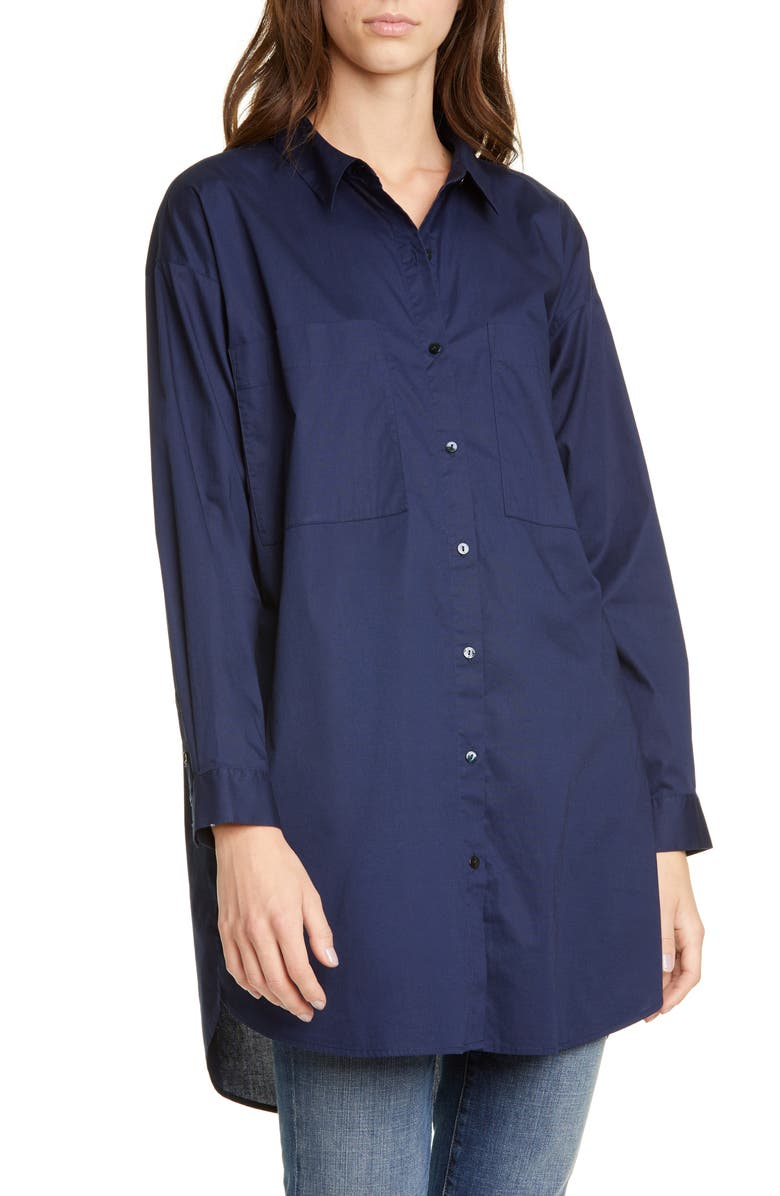 EILEEN FISHER Long Boxy Stretch Organic Cotton Shirt, Main, color, MIDNIGHT