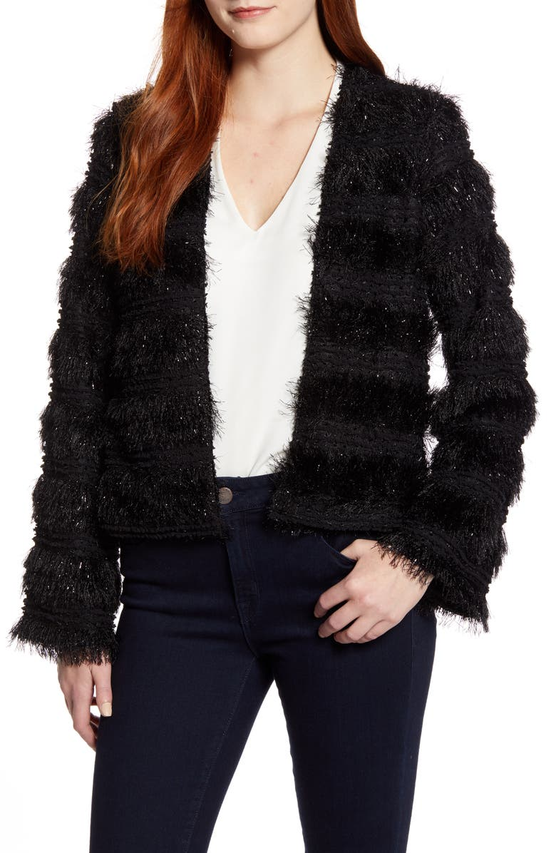 GIBSON x Glam Jessica Fay Shimmer Fringe Party Cardigan, Main, color, BLACK