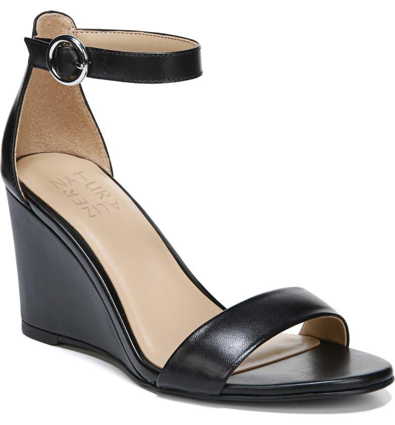 NATURALIZER Kierra Wedge Sandal, Main, color, BLACK LEATHER