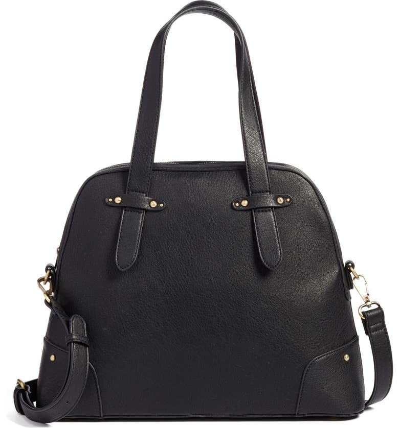 SOLE SOCIETY Christie Faux Leather Satchel, Main, color, 001