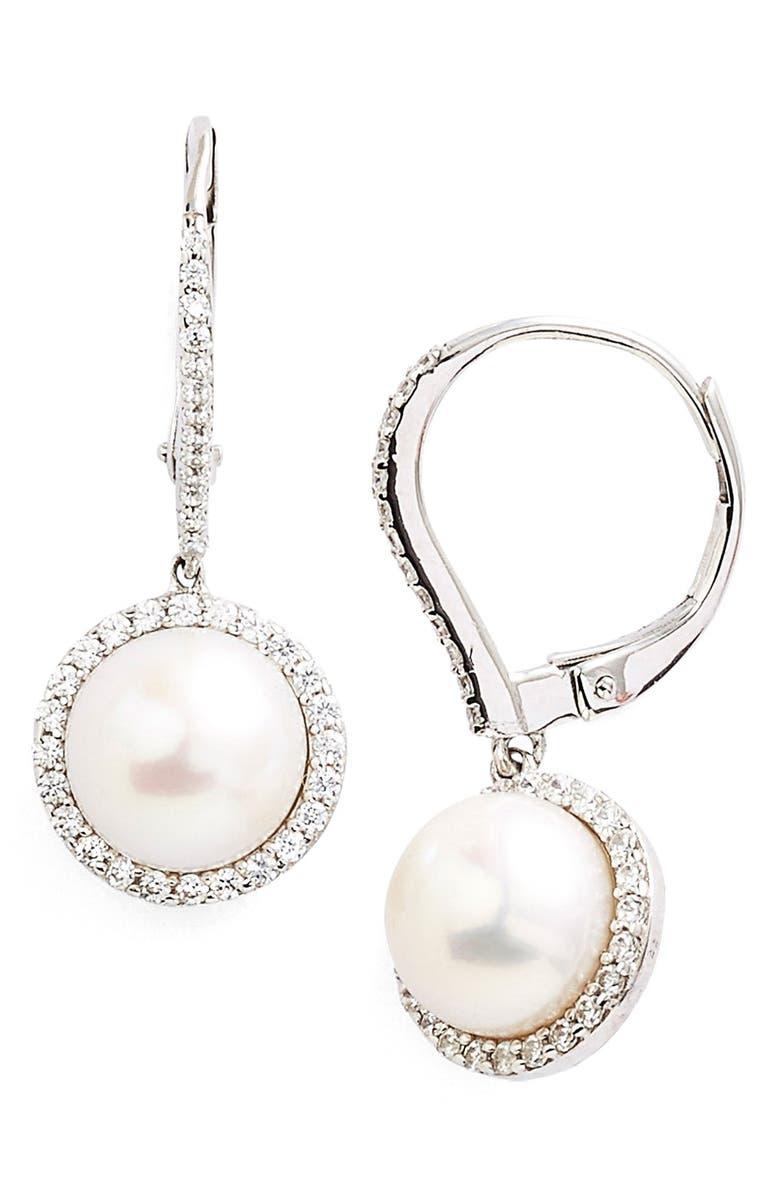 LAFONN 'Lassaire' Pearl Drop Earrings, Main, color, SILVER/ CLEAR