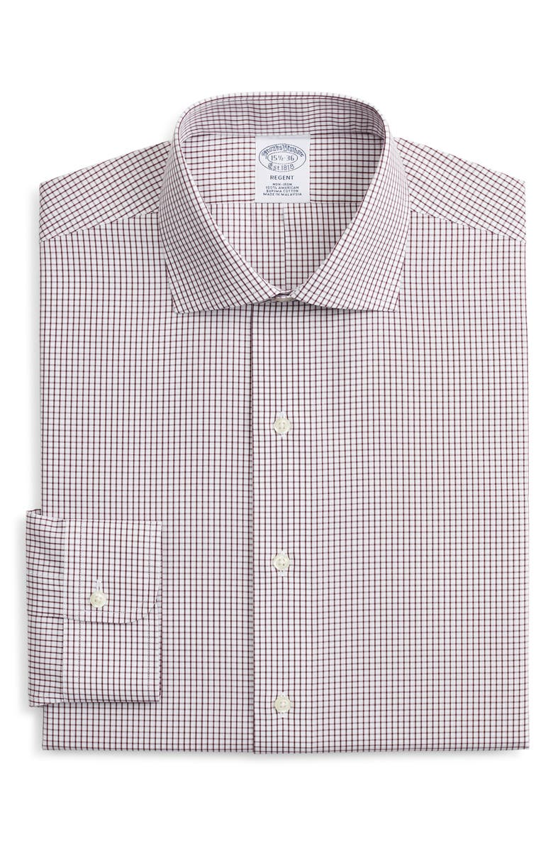 BROOKS BROTHERS Regent Regular Fit Non-Iron Check Dress Shirt, Main, color, WPFIG