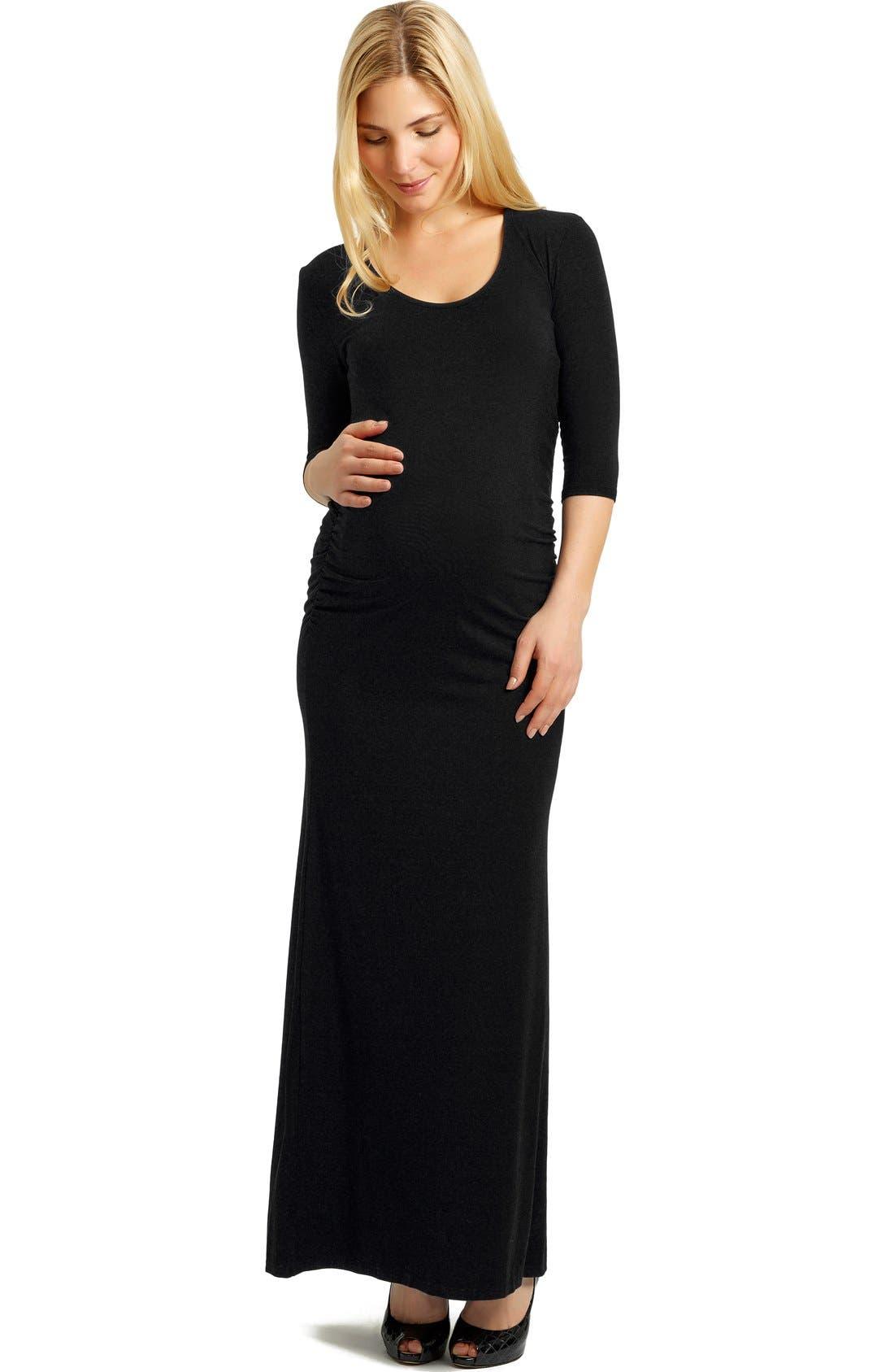 ,                             MaddersonLondon 'Saturday' Maternity Maxi Dress,                             Main thumbnail 1, color,                             001