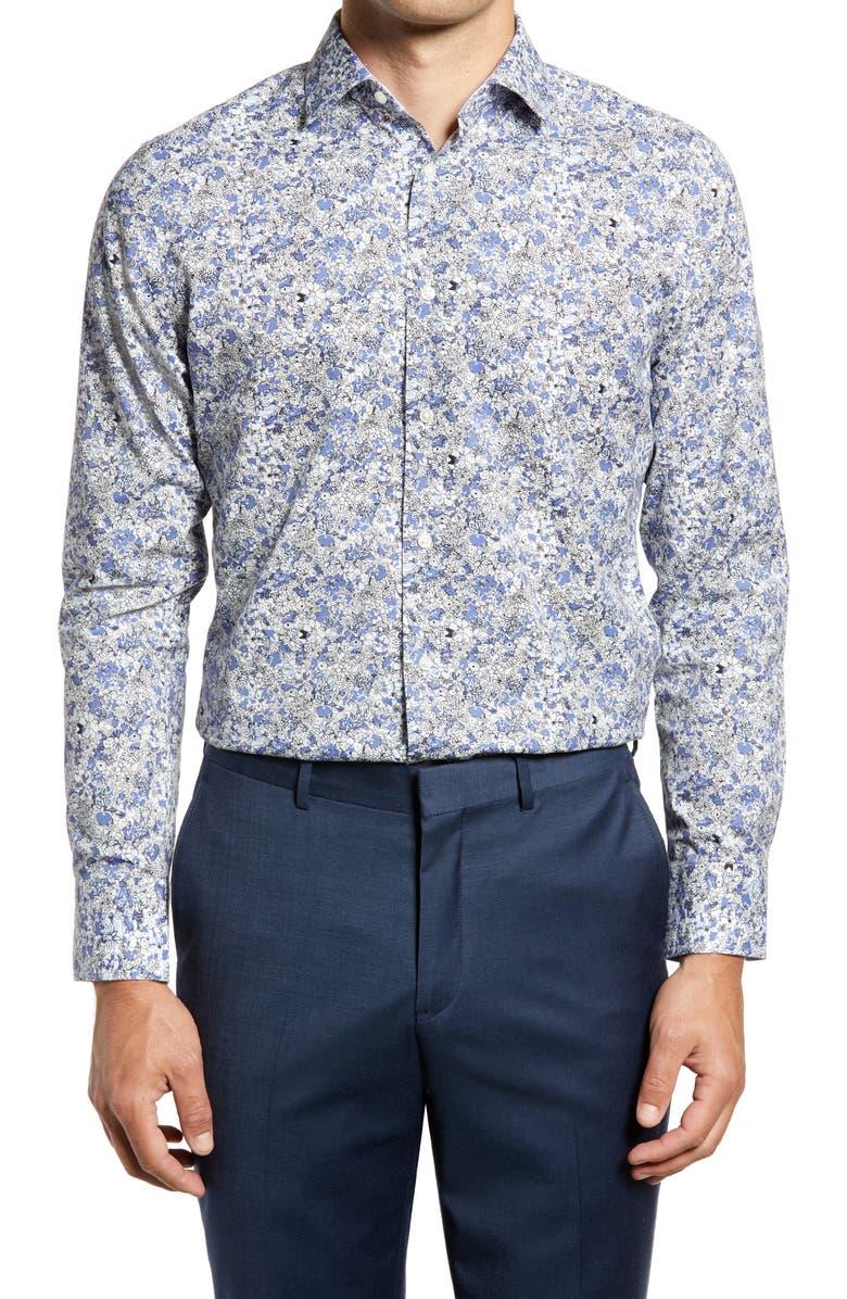 NORDSTROM MENS SHOP Nordstrom Trim Fit Floral Non-Iron Dress Shirt, Main, color, BLUE MARLIN