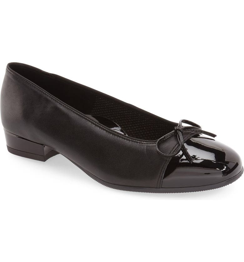 ARA 'Bel' Cap Toe Pump, Main, color, BLACK LEATHER