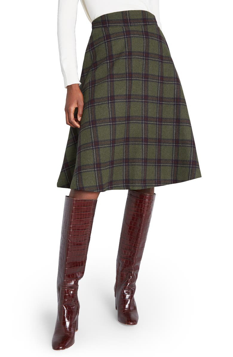 MODCLOTH Prim Class Hero Plaid Skirt, Main, color, GREEN PLAID