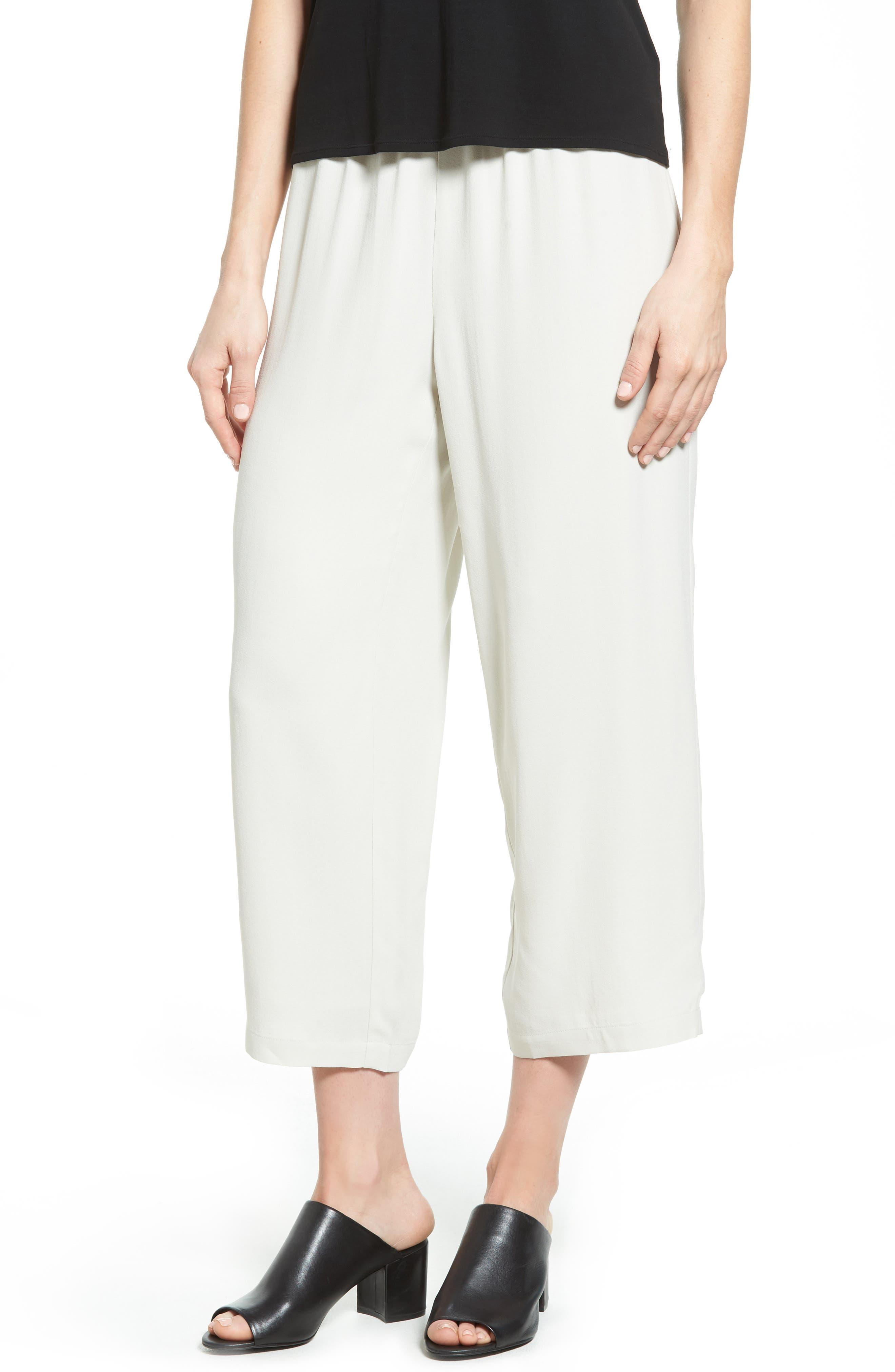 Petite Eileen Fisher Silk Crop Pants, Beige