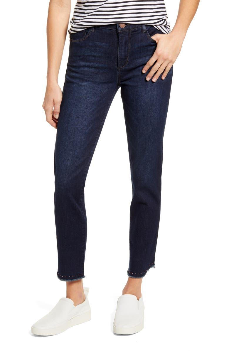 WIT & WISDOM Ab-Solution High Waist Fray Hem Ankle Skinny Jeans, Main, color, 402