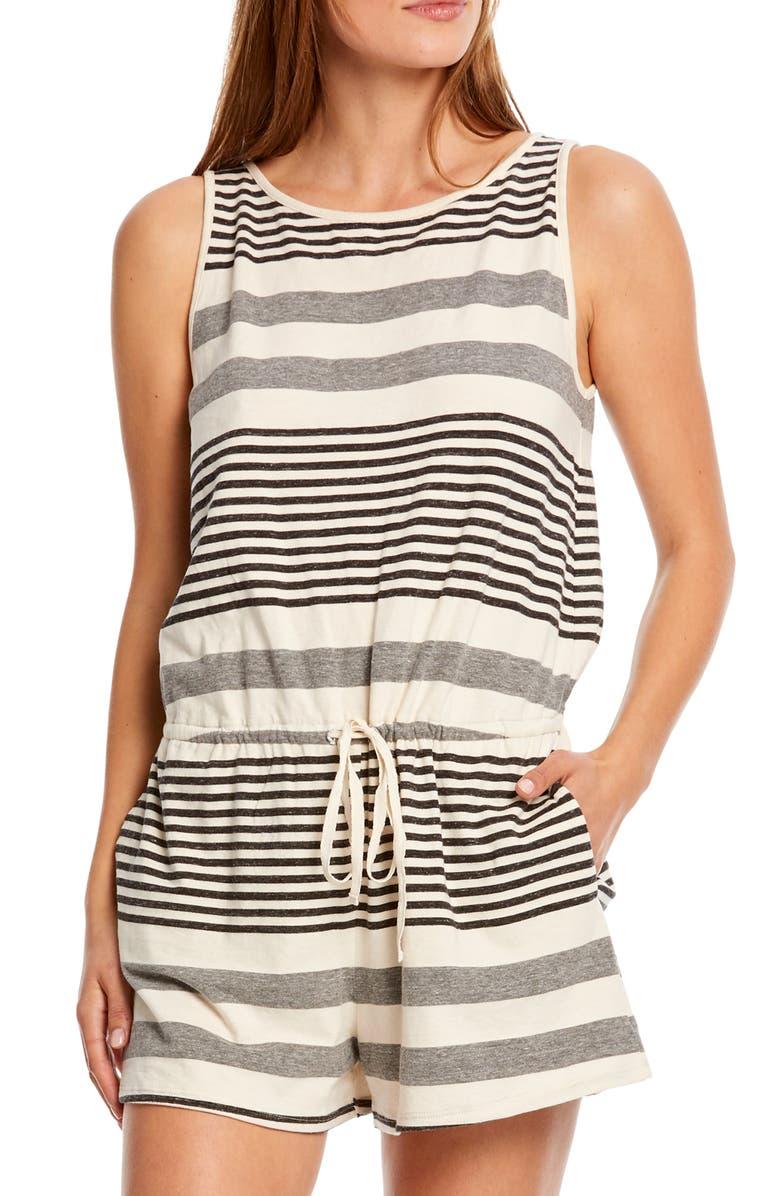 MICHAEL STARS Kylie Mix Stripe Cotton Blend Romper, Main, color, CHALK