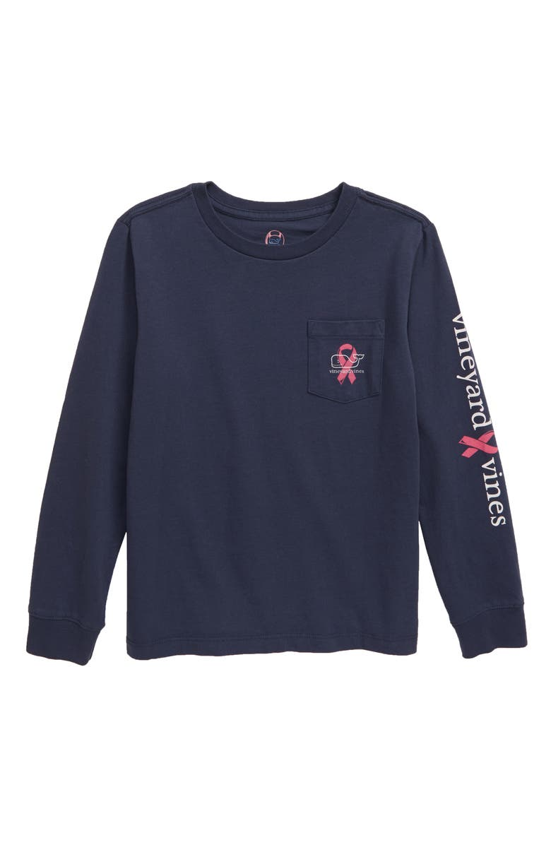VINEYARD VINES Breast Cancer Awareness 2019 Long Sleeve Pocket T-Shirt, Main, color, BLUE BLAZER