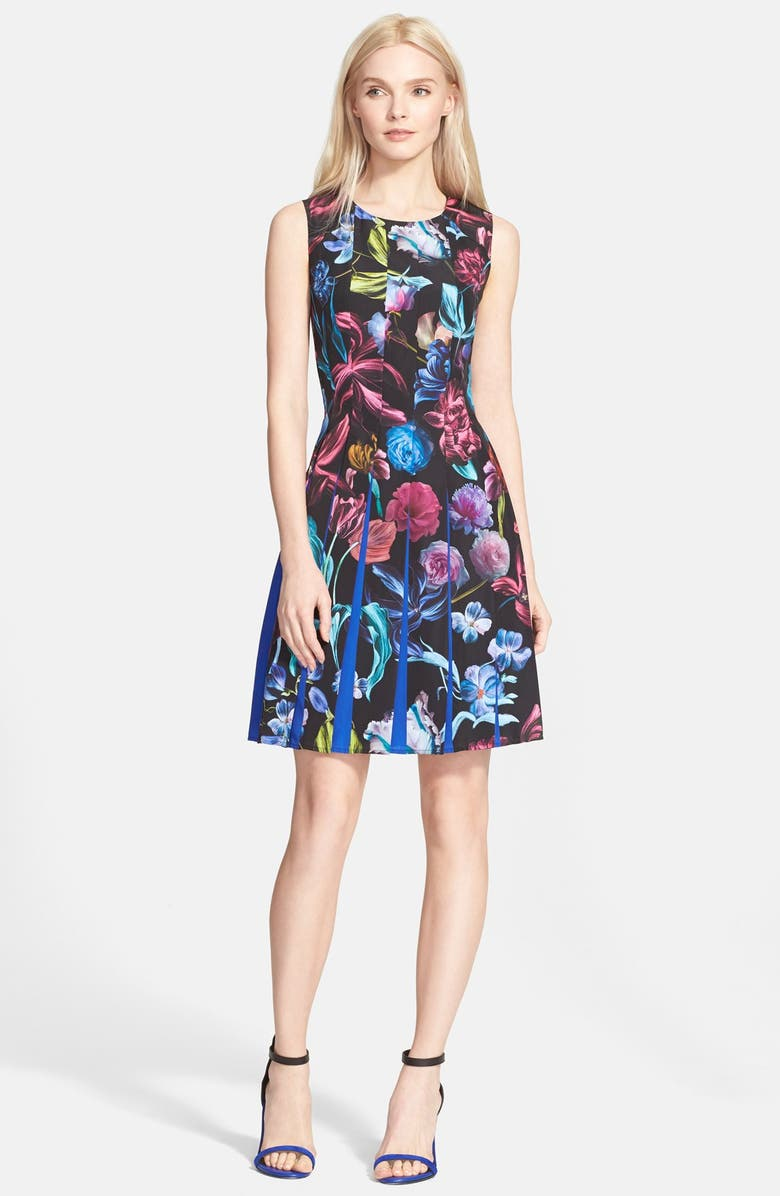 TED BAKER LONDON 'Edelfi' Floral Print Pleated Fit & Flare Dress, Main, color, 001