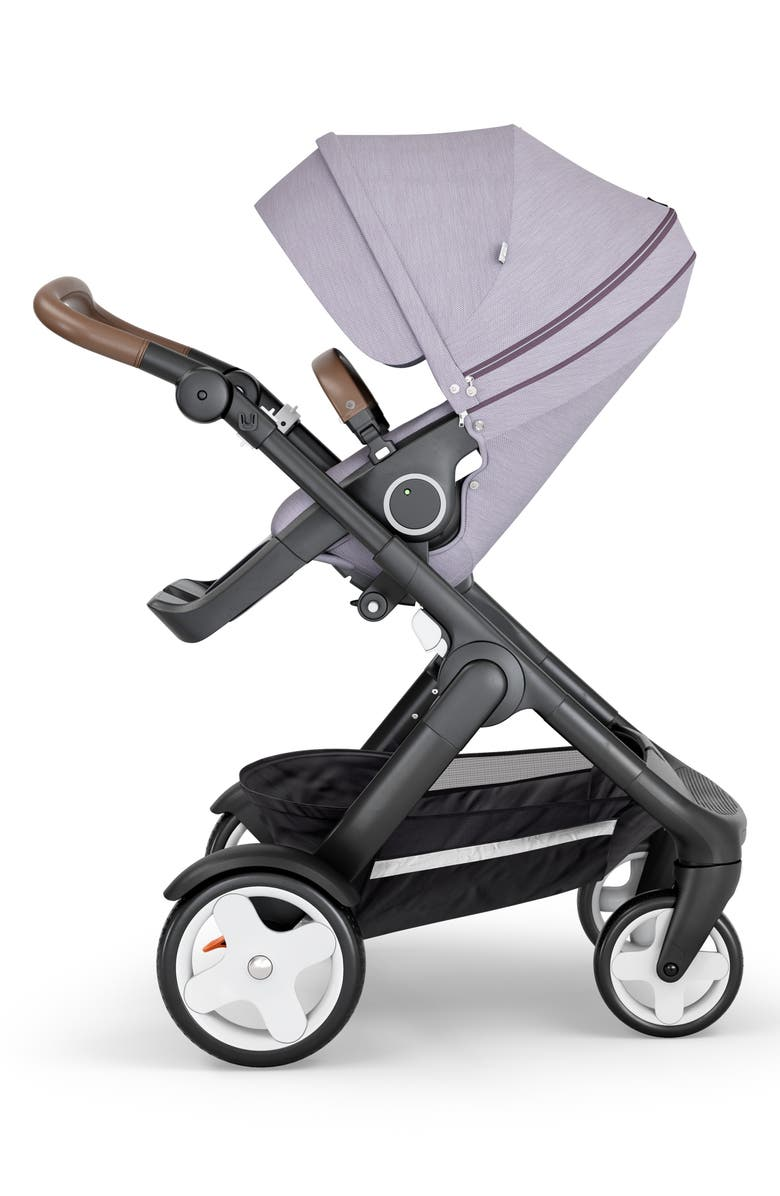 STOKKE Trailz<sup>™</sup> All Terrain Black Chassis/Brown Faux Leather Handle Stroller, Main, color, BRUSHED LILAC