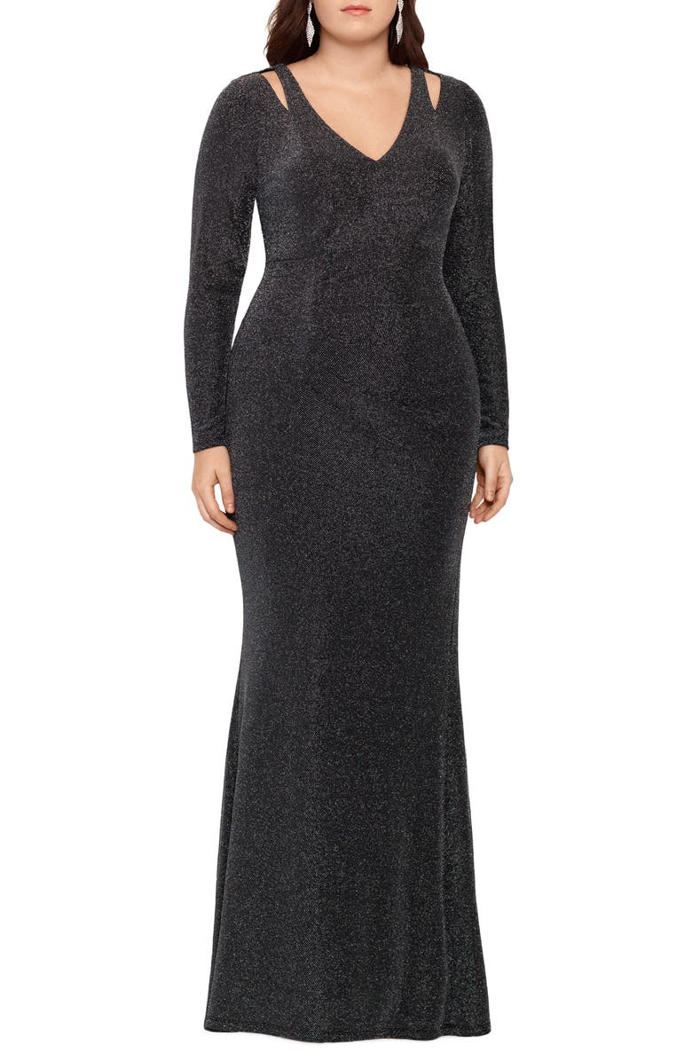 XSCAPE Metallic Cold Shoulder Long Sleeve Gown, Main, color, BLACK/ SILVER