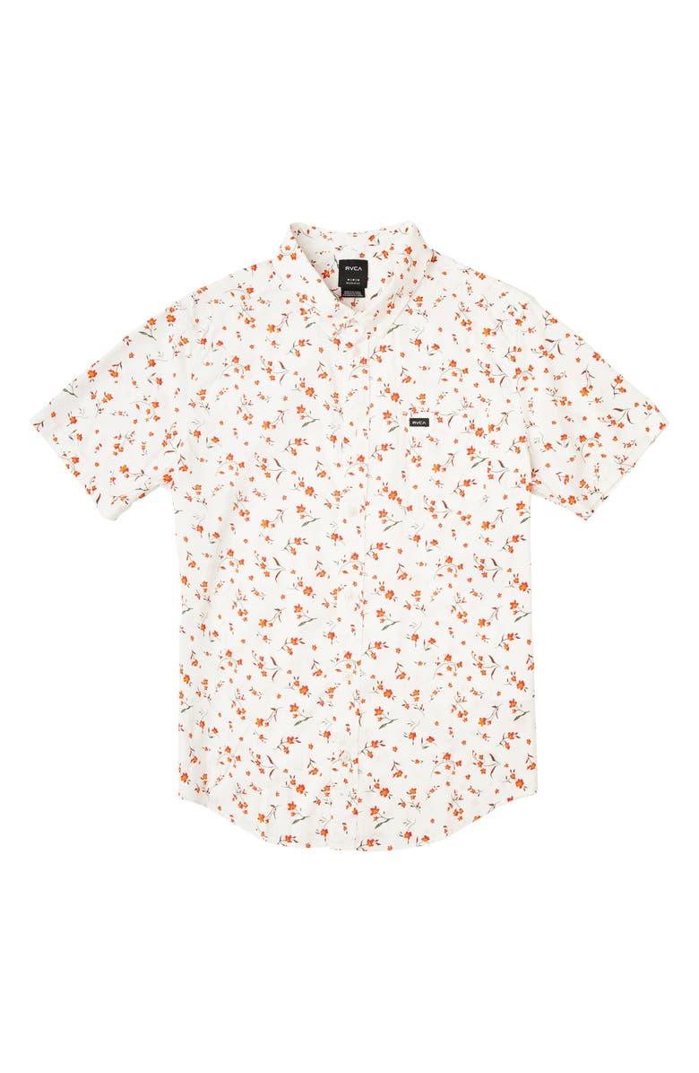 RVCA Elegie Floral Short Sleeve Button-Up Shirt, Main, color, 111
