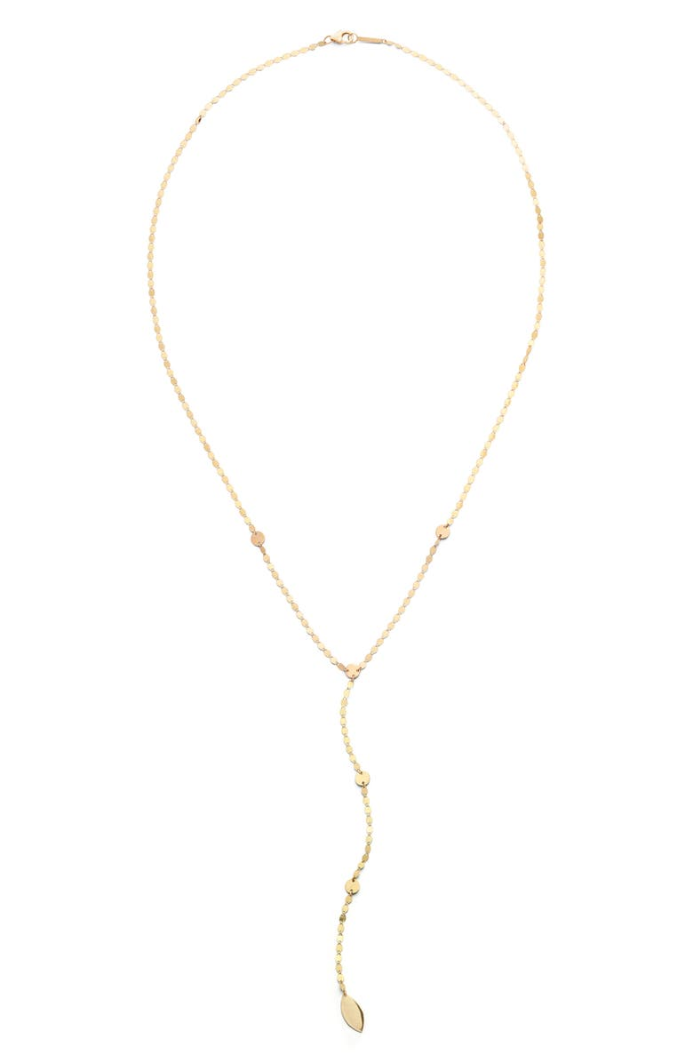 LANA JEWELRY Nude Dangling Disc Y-Necklace, Main, color, YELLOW GOLD