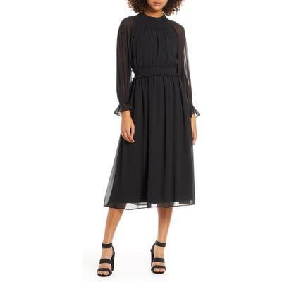 Chelsea28 Smocked Neck Long Sleeve Chiffon Midi Dress, Black