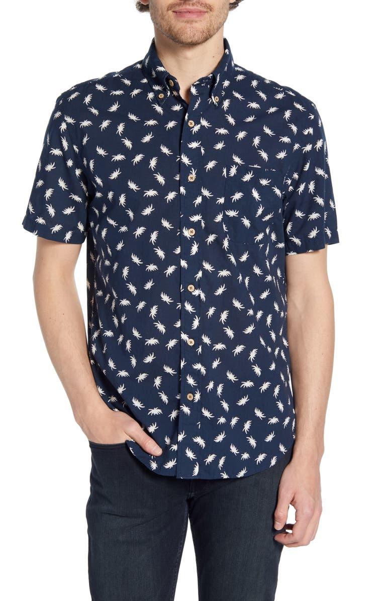 FAHERTY Regular Fit Palm Print Organic Cotton Shirt, Main, color, 420