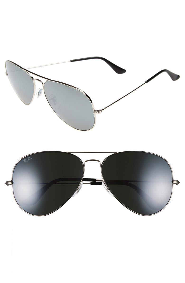 RAY-BAN 62mm Aviator Sunglasses, Main, color, SILVER/ DARK GREY MIRROR
