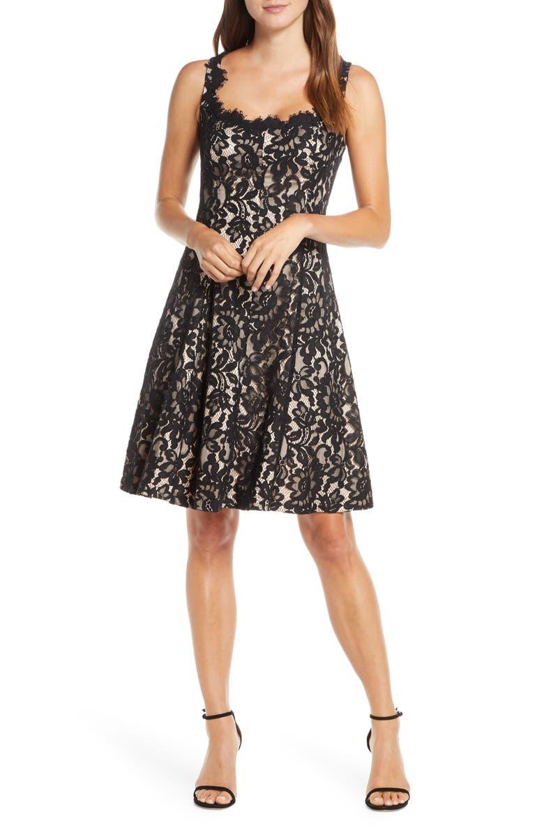 ELIZA J Lace Fit & Flare Dress, Main, color, BLACK