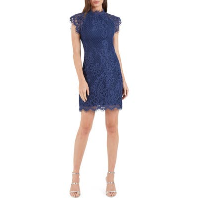 Cooper St Avery High Neck Lace Minidress, Blue