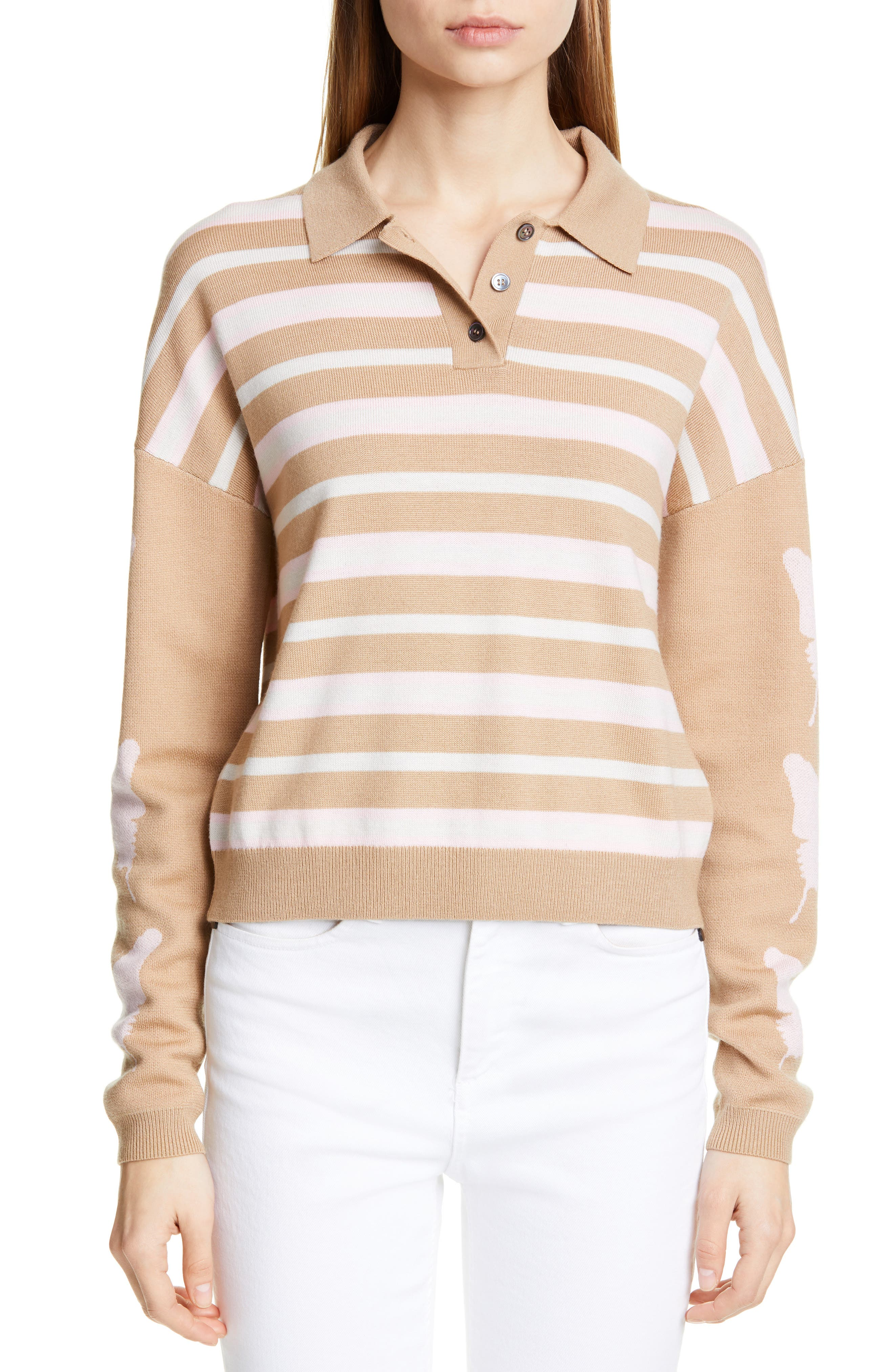Sandy Liang Boothbay Merino Wool Polo Sweater, Beige (Nordstrom Exclusive)