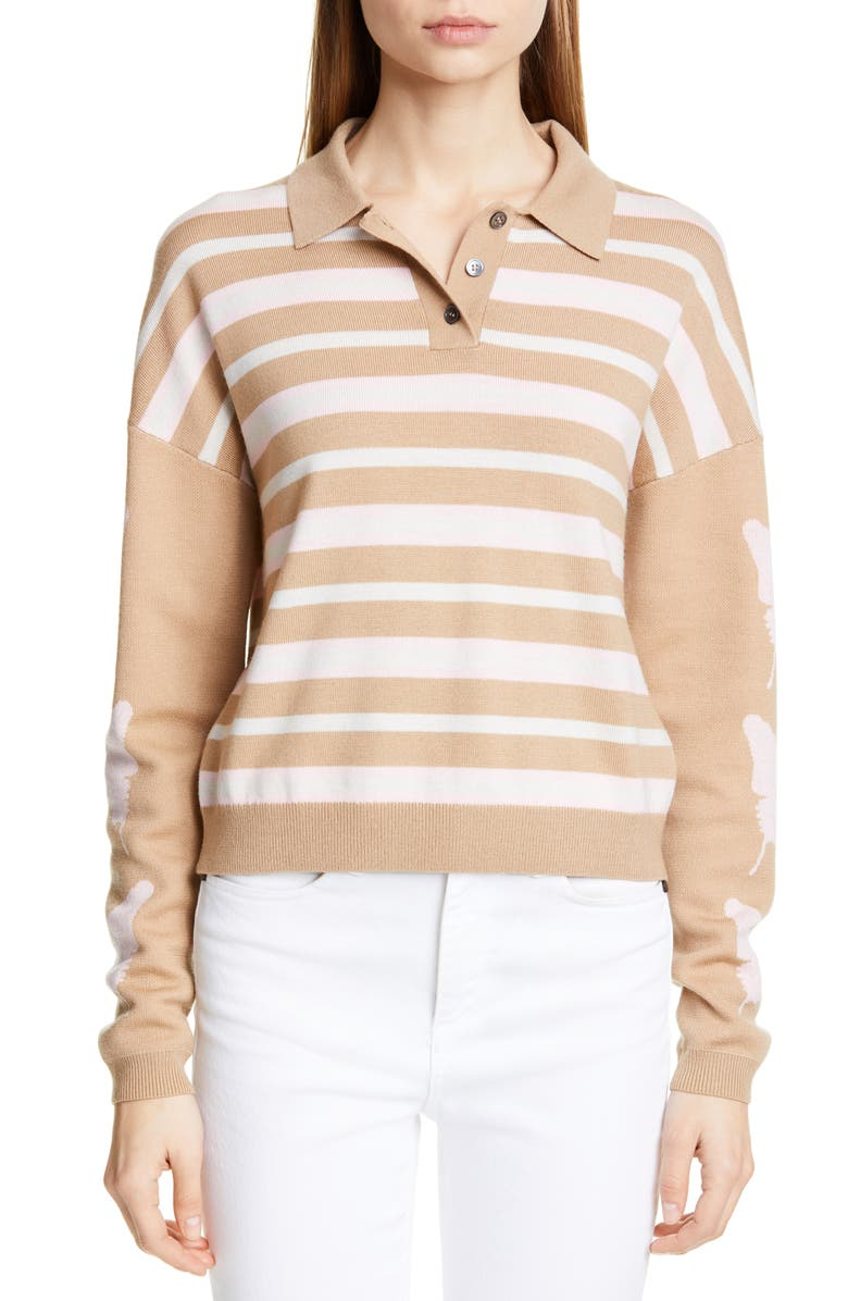 SANDY LIANG Boothbay Merino Wool Polo Sweater, Main, color, SOFT PINK