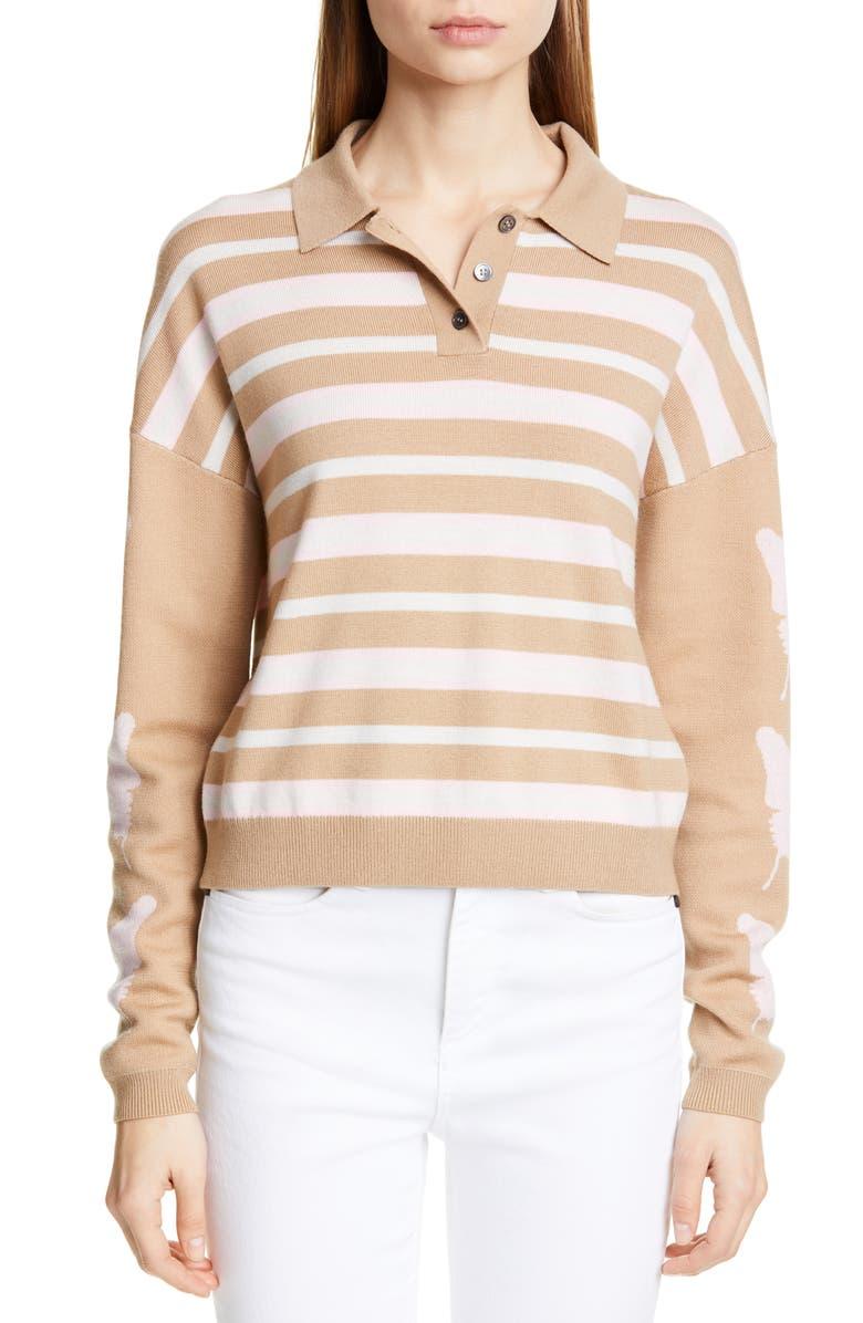 SANDY LIANG Boothbay Merino Wool Polo Sweater, Main, color, 250