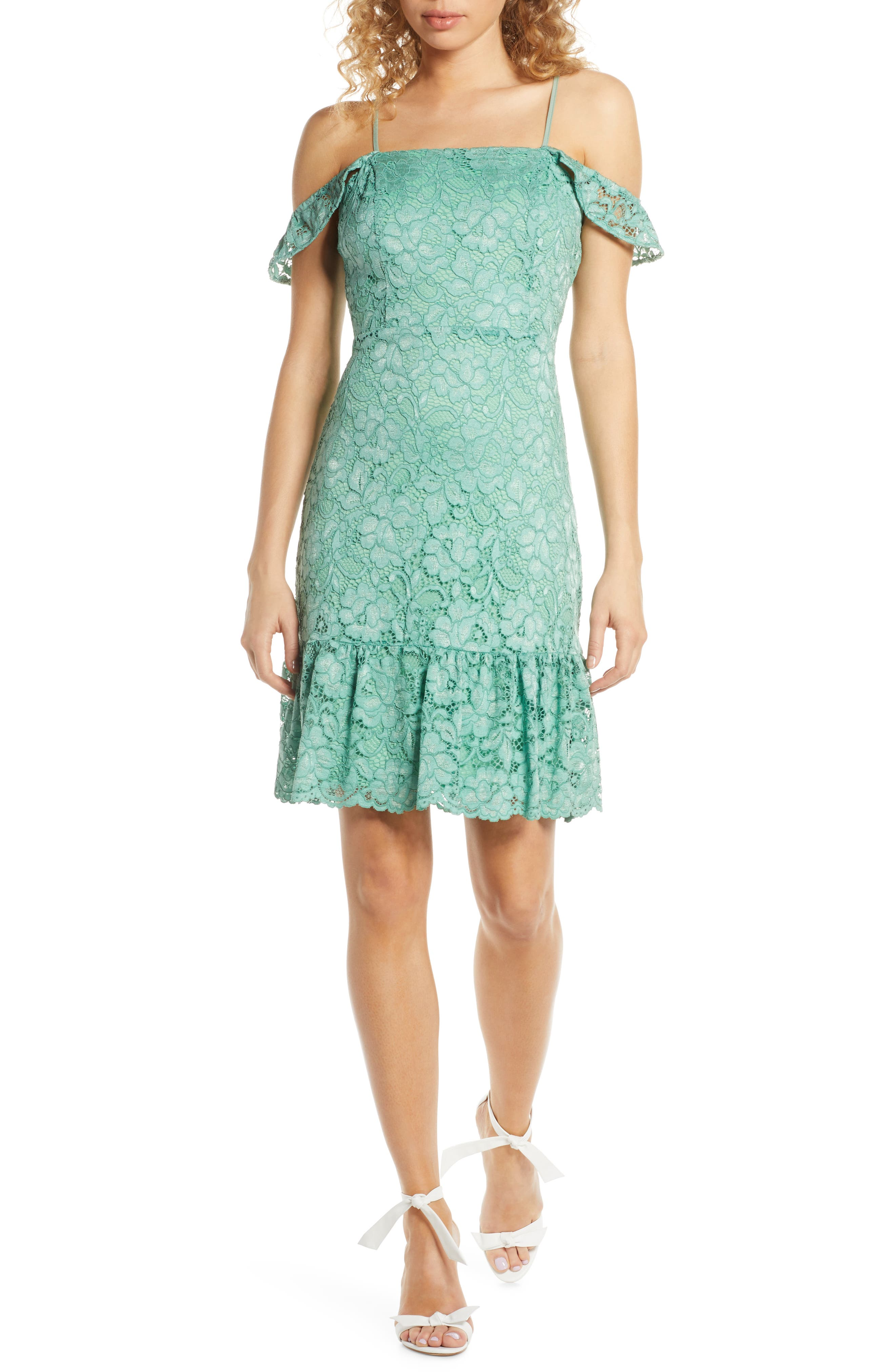 Sam Edelman Lace Cold Shoulder Sheath Dress, Green