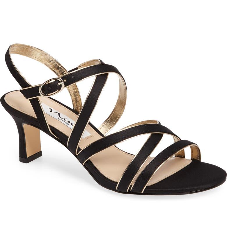 NINA Genaya Strappy Evening Sandal, Main, color, BLACK/ GOLD SATIN