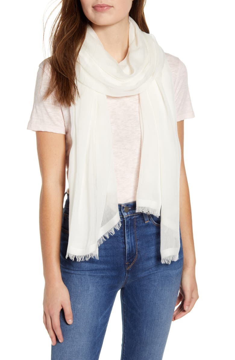 NORDSTROM Modal & Silk Stripe Scarf, Main, color, WHITE