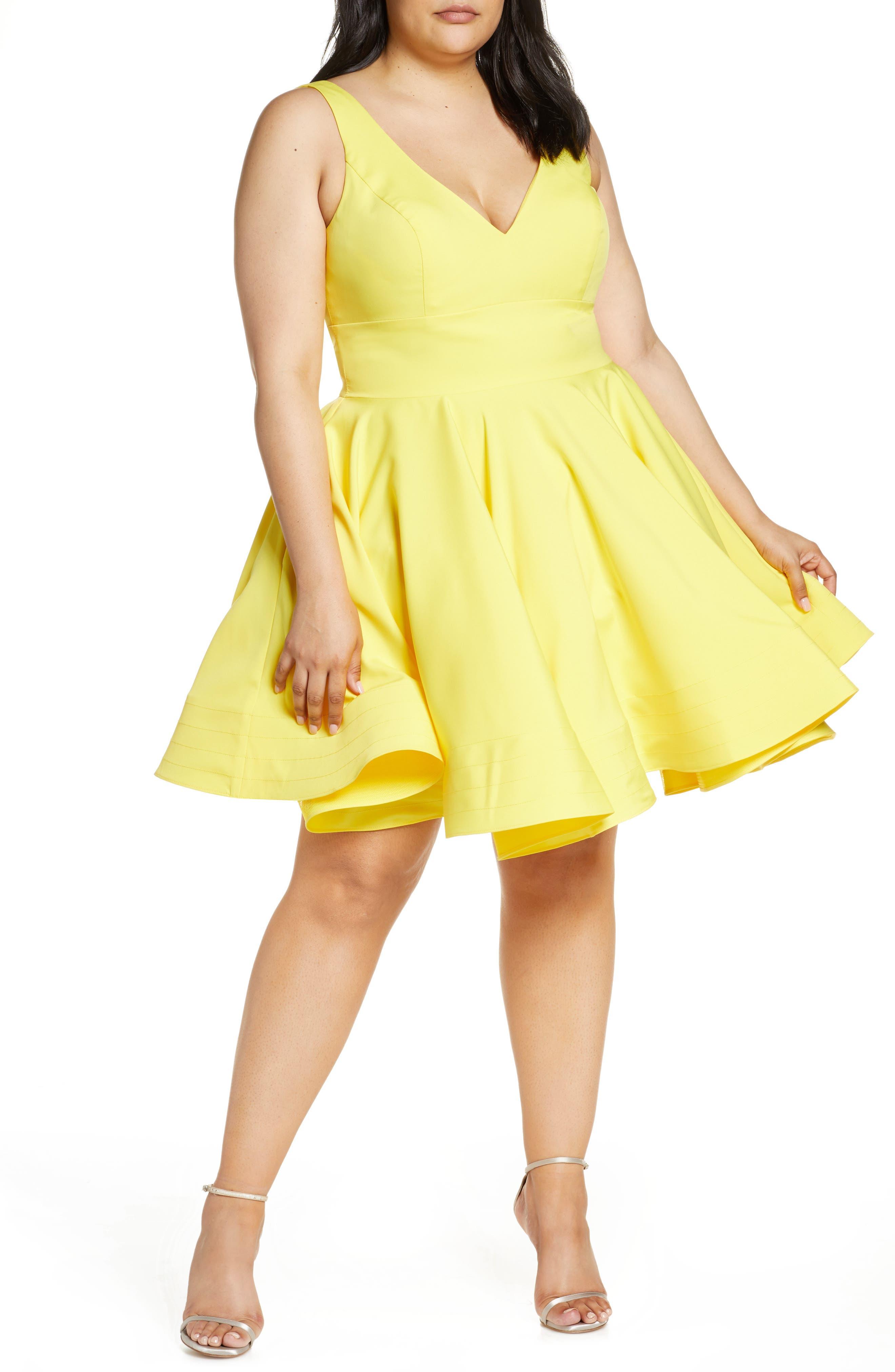 c5d3f60da Plus Size MAC Duggal Fit & Flare Party Dress, Yellow