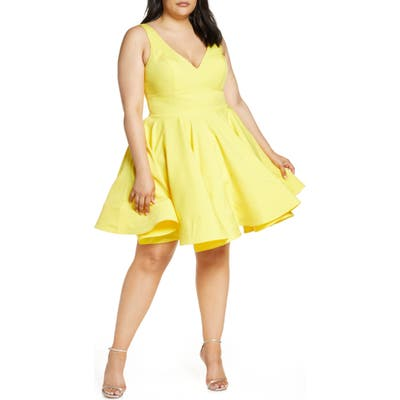 Plus Size MAC Duggal Fit & Flare Party Dress, Yellow