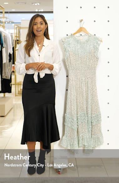 Ikat Leaf Metallic Detail Cotton & Silk Dress, sales video thumbnail